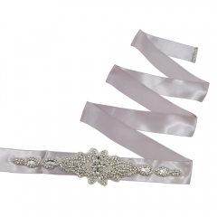 Silk Ribbon Sashes Belts with Crystal Rhinestone