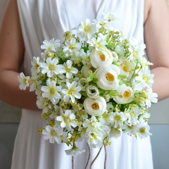 Abbie Home Handmade Country Wedding Bouquet White Daisy Peony Artificial Bridal Flower Bouquets