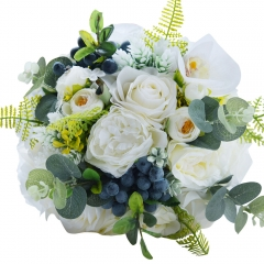 Abbie Home White Rose Wedding Bridal Bouquet for Spring Garden Wedding Flower with Green Leaves Décor