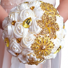 Abbie Home Advanced Customization Romantic Bride Wedding Holding Toss Bouquet Rose Brooch with Pearls and Rhinestone decorative brooches Accessories
