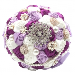 "9"" Luxury Rose Bouquet With Pearls Rhinestone Brooches"