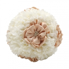 White Hydrangea Bridal Bouquet Flower in Champagne & White