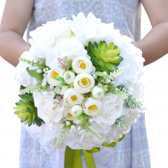 White Rose Wedding Tossing Bouquet with Succulents for Bridal