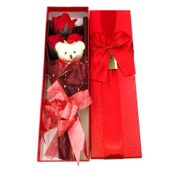 Flower Bouquet 3 Scented Soap Roses Gift Box with Cute Teddy Bear  Valentine's Present Red