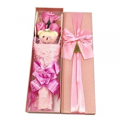 Flower Bouquet 3 Scented Soap Roses Gift Box with Cute Teddy Bear  Valentine's Present Pink