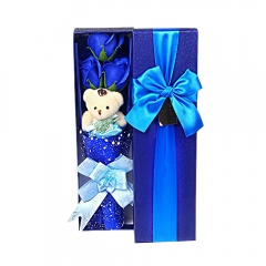 Flower Bouquet 3 Scented Soap Roses Gift Box with Cute Teddy Bear  Valentine's Present Blue