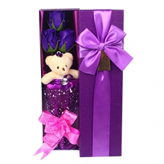 Flower Bouquet 3 Scented Soap Roses Gift Box with Cute Teddy Bear  Valentine's Present Purple