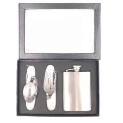 Stainless Steel Flask Folding Spoon and Fork Set Gift for Men Boys Tools for Outdoor Trip