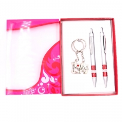 Keychain + Ballpoint Pen Set Valentine Gift for Friends Young Couples Girls (Gift Ready Packaged)