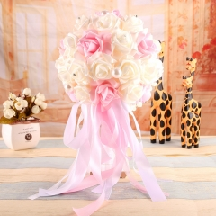 White & Pink Roses Bridesmaid Bouquet Wedding Bridal Tossing Flower with Ribbons Rhinestone Pearl Decoration