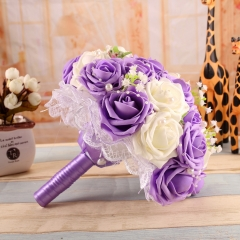 Light-Weighted Bride Tossing Bouquet Bridesmaid Wedding Flower with Ribbons Bow Lace and Pearls Decoration