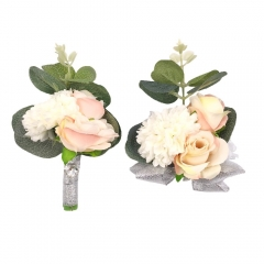 Wedding Wrist Corsage Brooch Boutonniere Set Party Prom Hand Flower Decor