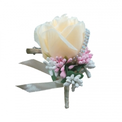 Bridegroom Boutonniere with Clip Brooch Pin for Wedding Party Prom