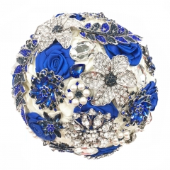 Royal Blue Wedding Jewelry Brooch Bouquet Rhinestone