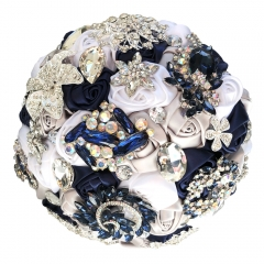 Silk Rose Wedding Jewelry Brooch Bouquet