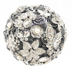Full Rhinestone Wedding Roses Jewelry Silver Brooch Bouquet