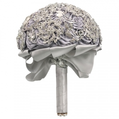 Handmade Silver Brooch Bouquet Wedding Bridal Roses