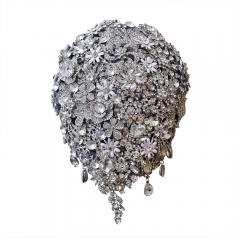 Full Rhinestone Gem Decor Cascading Wedding Bouquet