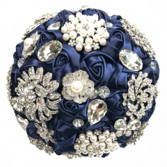 Navy Blue Wedding Jewelry Brooch Bouquet