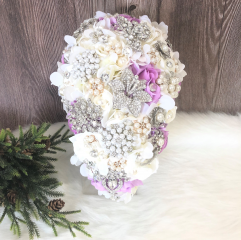 Rhinestone Jewelry Brooch Bouquet in Lavender & White