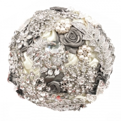 Full Rhinestone Gem Wedding Jewelry Brooch Bouquet