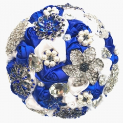 Royal Blue Rhinestone Gem Pearl Brooch Wedding Bouquet