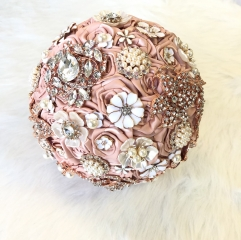 Blush Pink Rhinestone Pearl Jewelry Bride Bouquet