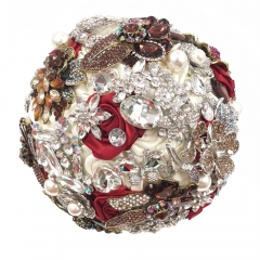 Burgundy White Wedding Roses Jewelry Brooch Bouquet