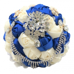 Pearl Rhinestone Jewelry Bouquet Silk Roses for Wedding