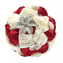 Flower Jewelry Brooch Bouquet with Rhinestones Ribbons