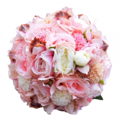 Pink Rose Lily Wedding Flowers with Rhinestone Ribbon Décor