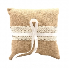 Linen Cover Wedding Ring Bearer Pillow