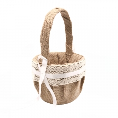 Linen Cover Wedding Flower Girl Basket