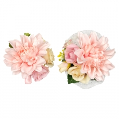 Boutonniere Wrist Corsage Set for Prom Wedding Dahlia Flower