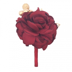 Burgundy Boutonniere Pin for Prom Party Wedding