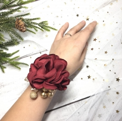 Burgundy Wrist Corsage for Prom Party Wedding