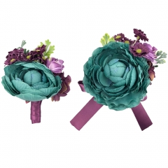 Turquiose Peony Prom Corsage Boutonniere Flower Set