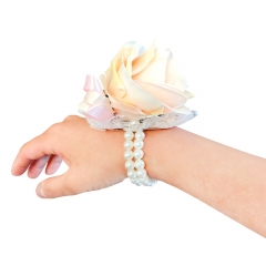 Crystal Pearls and Jewels Decorated Wrist Corsage