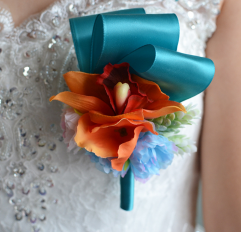 Orange Lily Boutonniere Flower with Blue Ribbon