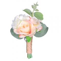 Peach Blush Rose Groomsman Boutonniere Flower for Prom Party