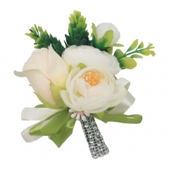 White Rose Groomsman Boutonniere Wedding Guest Brooch Pin Flower