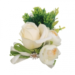 White Rose Buds Wrist Corsage for Prom Wedding Party