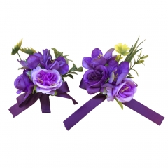 Wrist Corsage Brooch Boutonniere Set in Purple and Lavender Rose