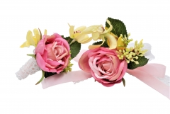 Blooming Rose Flower Décor Wrist Corsage Boutonniere Set