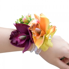 Wrist Corsage for Bridesmaid Purple Orange Ochid