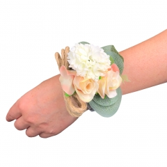 Peach Blush Rose Wrist Corsage for Prom Wedding