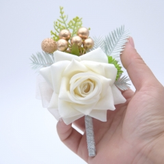 Blooming Rose Boutonnière Flower Golden Beads Décor
