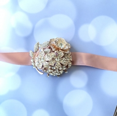 Full Rhinestone Covered Wrist Corsage Crystal Wedding Jewelry