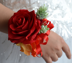 Red Rose Wrist Corsage for Prom Wedding Party Phalaenopsis
