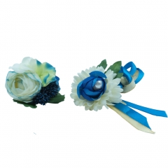 White and Blue Peony Flower Prom Corsage Boutonniere Set